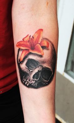 Skull and lily tattoo by teedark