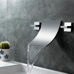 Modern Waterfall Wall Mount Bathroom Vessel Sink Faucet in Chrome Free Shipping #WaterfallBathroomSinkFaucet