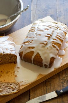 Gingerbread Loaves with Lemon Glaze — In the oven now and they smell good