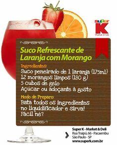 Suco refrescante de laranja com morango