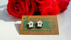 Wooden Birdhouse Earrings available in white and by BoughtoBeauty