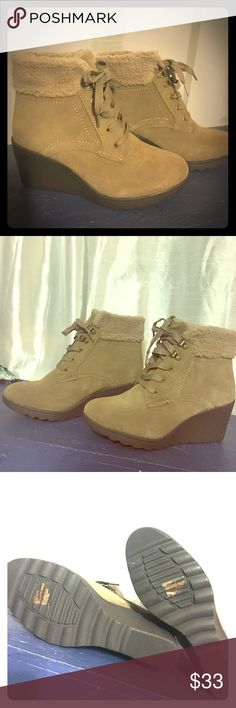 🔅new🔅 wedge boots 👢New👢 White Mountain Kipper Woman, round toe, wedge booties. Camel/Tan color Suede leather upper & faux fur lined. Never worn. Have the box but it got accidentally crushed in the closet. Size 10-true to size White Mountaineering Shoes Ankle Boots & Booties