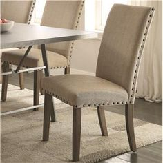 Amherst Casual Parson Chair with Tan Fabric Upholstery and Nailhead Trim
