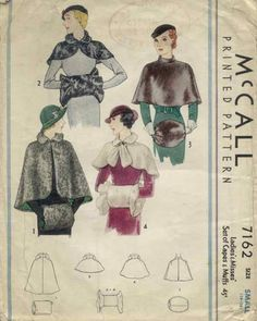 Vintage McCall's Pattern 7162 - Cape And Muff Set