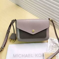 MICHAEL Michael Kors Greenwich Bi-Color Saffiano Leather Crossbody Bag Grey