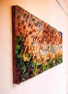 Reclaimed Wood Wall Art Wood Mosaic Painting On Wood Etsy - Wood Wall Art Landscape Painting Mosaic Is Fully Made From Wood Geometric Pieces Pictured Landscape Is Based On My Own Photo Of Benbulben In Sligo Ireland Each Wood Piece Is Cut Sanded And Pain # Reclaimed Wood Wall Art, Wood Wall Decor, Wooden Wall Art, Wooden Walls, Wooded Landscaping, Wood Mosaic, Into The Woods, Wood Pieces, Diy Wood Projects