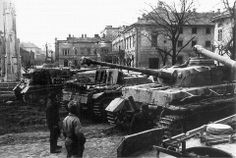 Captured by Soviet troops in Szekesfehervar German tanks and self-propelled guns, abandoned due to lack of fuel. In the right corner is partially visible Pz. Medium Armor, Panzer Iv, Ww2 Photos, Army Vehicles, Military Pictures, Ww2 Tanks, War Machine, World War Two, Hungary