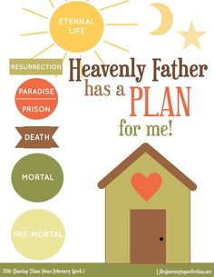 Life's Journey To Perfection: 2016 LDS Sharing Time Ideas For February Week 1: Heavenly Father has a plan for me.
