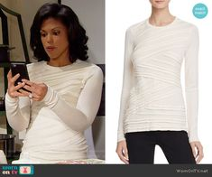 Maya's off-white criss-cross front sweater on The Bold and the Beautiful. Outfit Details: https://wornontv.net/61618/ #TheBoldandtheBeautiful