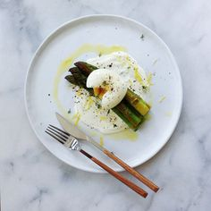 Asparagus And Soft Boiled Egg + Yogurt, Sumac, Lemon Zest, And Thyme
