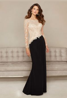 Jersey Gown With Beaded Appliques Mother Of Bride Dress www.findress.com