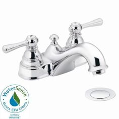 MOEN Kingsley 4 in. 2-Handle Bathroom Faucet in Chrome with Drain Assembly-6101 at The Home Depot