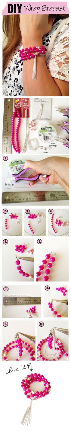 DIY Pink Perfection Wrap Bracelet