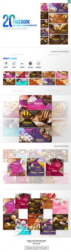 20 Facebook Post Banner  Bakery and Cupcake Shop — Photoshop PSD #bake shop #open hours • Download ➝ https://graphicriver.net/item/20-facebook-post-banner-bakery-and-cupcake-shop/19284528?ref=pxcr