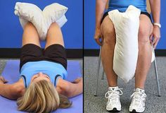 Living with Knee Pain? Try this simple excercise Pillow Squeeze This move helps strengthen the inside of your legs to better support your knees. Lie on your back, both knees bent. Place a pillow between the knees. Squeeze your knees together, squishing the pillow between them. Hold for 5 seconds. Relax. Do two sets of 10 repetitions. Switch legs after each set. Too hard? You can also do this exercise while seated