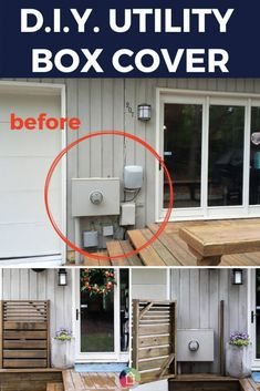 Looking for utility box cover ideas to cover those outdoor eyesores? This DIY utility box cover is gorgeous and functional. It easily opens to give access to the utility box whenever needed! #diyproject #diy #utilitybox #utilityboxcover #outdoor #diywoodwork