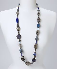 Another great find on #zulily! Lapis & Gray Snake Bead Necklace #zulilyfinds