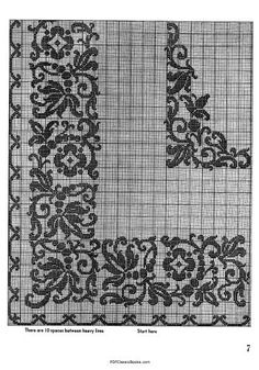 Crochet for Tables: 17 Ways to Glorify Your Tables, Coats & Clark Book - Knitting & Crocheting - Crafts & Hobbies - PDF Classic Books Filet Crochet Charts, Crochet Borders, Knitting Charts, Easy Crochet Patterns, Cross Stitch Sampler Patterns, Cross Stitch Borders, Beaded Embroidery, Embroidery Patterns, Chart Design
