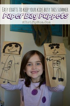 Paper bag puppets, easy craft ideas to keep you kids busy this summer, DIY crafts for kids