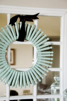 DIY Clothes Pin & Embroidery Hoop Wreath. my grandma made this n painted it gold back around 1961.