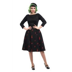 Delphine Music Notes Flared Dress Collectif Mainline Clothes Dresses @ Collectif and Vintage Style Clothing and Rockabilly Collection Moda Pin Up, Vintage Style Outfits, Vintage Fashion, Vestidos Pin Up, Red Accessories, 1940s Dresses, Swing Skirt, 50s Vintage, Color Negra