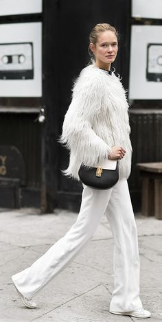 all white winter outfit for women, white monochrome outfit, chic winter outfit for young women