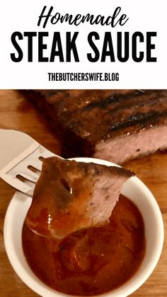Homemade Steak Sauce is robust and perfect to eat with juicy steaks. Informations About Homemade Steak Sauce is robust and Homemade Steak Sauces, Steak Sauce Recipes, Homemade Bbq, Homemade Sauce, Beef Recipes, Cooking Recipes, Recipies, Bbq Sauces, Meat Sauce