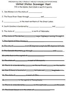 Map Skills Worksheet Education Pinterest Map Skills - Us map skills worksheets