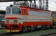 "Electric locomotive designed by Otakar Diblík and mass produced by Škoda Plzen. Nicknamed ""Laminátka"" on account of its smooth fiberglass exterior"