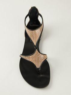 Casadei Striped Cut Out Sandals - Russo Capri - Farfetch.com