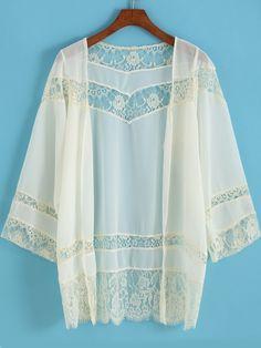 Apricot Long Sleeve Lace Chiffon Kimono,    #Kimonos,    #kimono150727150