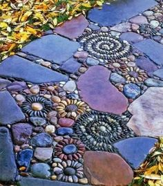 Spreading decorative pebbles around plants or laying them between pavers are just two ways to enjoy this backyard landscaping material, its texture, shapes and colors. Using decorative pebbles in contrasting colors makes striking decoration patterns. Mixing decorative pebbles with other stones and wood add fantastic designs to backyard landscaping ideas and gardens. ♥