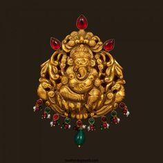 Gold Nakshi work nagas ganesh pendant