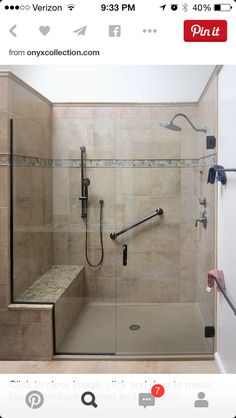 Shower seat too different tile Ideas Baños, Tile Ideas, Shower Grab Bar, Grab Bars In Bathroom, Shower Pan, Ada Bathroom, Handicap Bathroom, Bathroom Layout, Laundry In Bathroom
