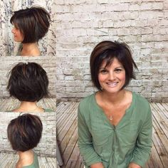 Really nice hairstyle i love it. Bronze high light on dark brown hair done by Heather J. Short razored texted Bob haircut by Kimmy at Modern Tekniques in Shrewsb. Mom Hairstyles, Short Bob Hairstyles, Pretty Hairstyles, Layered Haircuts, Hairstyles 2018, Layered Bob With Bangs, Straight Haircuts, Brown Hairstyles, Teenage Hairstyles