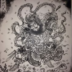 Chinese Lion Dance, History Tattoos, Traditional Japanese Tattoos, Japan Tattoo, Music Tattoos, Irezumi, Japanese Prints, Japan Art, Samurai