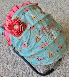 Coral Baby Car Seat Cover Floral Tee Pees Car Seat Cover