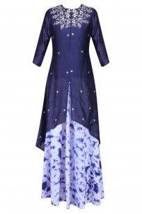 Navy Blue Gota Patti High Low Kurta with Marble Dyed Skirt # k-anishkajaipur #shopnow #ppus #happyshopping