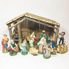 Vintage Wood Nativity Stable Creche Manger Set Christmas Religious Decor Made in Italy by EastWestVintage1 on Etsy