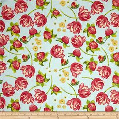 Riley Blake Floribella Main Blue from @fabricdotcom  Designed by Emily Taylor for Riley Blake Designs, this fabric is perfect for quilting, apparel and home decor accents. Colors include red, shades of green, shades of pink, shades of orange, and shades of light blue.