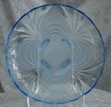 """Cambridge Glass """"Caprice"""" 13"""" Shallow Cupped Bowl, Moonlight Blue/Alpine Frost"""
