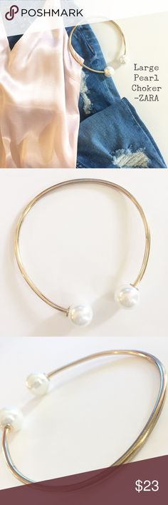 Large Pearl Choker from ZARA Faux pearl and gold tone choker necklace from Zara in good condition - slight tarnishing from mild wear. No scratches or dings on the pearls. Choker can bend to wear asymmetrically. Zara Jewelry Necklaces