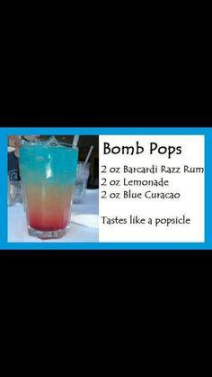 Bomb Pop  5 Star CS    2oz Malibu Razz Rum  2oz Lemonade  2oz blue caraco