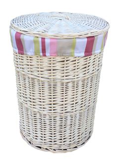 Wicker Laundry Bin with Striped Lining Lily Manor Size: Large Laundry Cabinets, Laundry Bin, Laundry Sorter, Laundry Hamper, Corner Laundry Basket, Rattan, Wicker, Dcor Design, Hazelwood Home