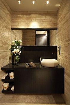 Contemporary Powder Room - Organic tile