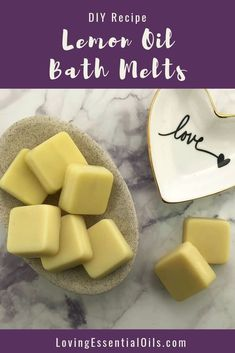 Homemade Lemon Bath Melts - Quick & Simple by Loving Essential Oils Coffee Essential Oil, Lemon Essential Oils, Eye Makeup, Bath Melts, Pure Oils, Soap Recipes, Home Made Soap, Shea Butter, Cocoa Butter