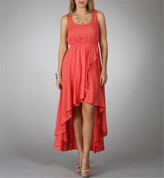 Coral Wrap Hi Low Dress