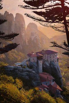 a study of meteora greece. what an amazing landscape. Fantasy Landscape, Fantasy Art, Science Fiction, Mermaid Mugs, Fantasy Places, Photoshop, Fan Art, Art Station, Environment Concept