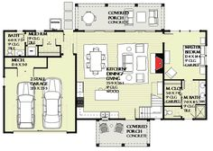 Open Layout Farmhouse House Plan - 970048VC floor plan - Main Level