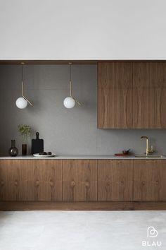 Minimal Kitchen Design, Kitchen Room Design, Minimalist Kitchen, Home Decor Kitchen, Kitchen Living, Interior Design Living Room, Home Kitchens, Walnut Kitchen, Scandinavian Kitchen